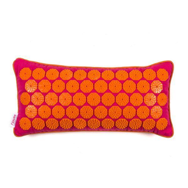 Flowee spijkermat kussen fuchsia-oranje